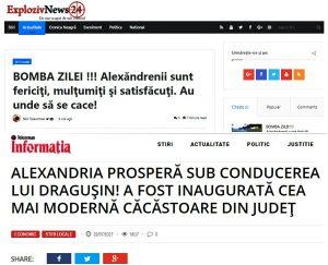 Titluri din publicațiile Exploziv News 24 și Informatia de Teleorman