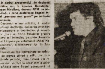 Trecutul parlamentarilor noștri. În 1994, Eugen Nicolicea cerea ca Regele Mihai să fie declarat persona non grata pe teritoriul României
