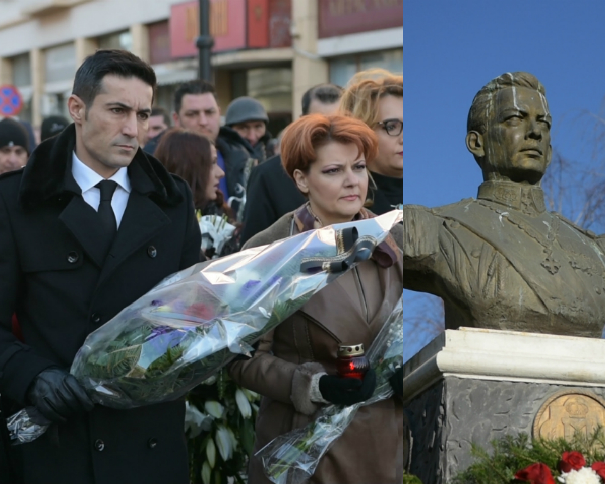 Claudiu Manda și Olguța Vasilescu, șefii PSD Dolj, au organizat un marș omagial în memoria Regelui Mihai. FOTO: Recorder