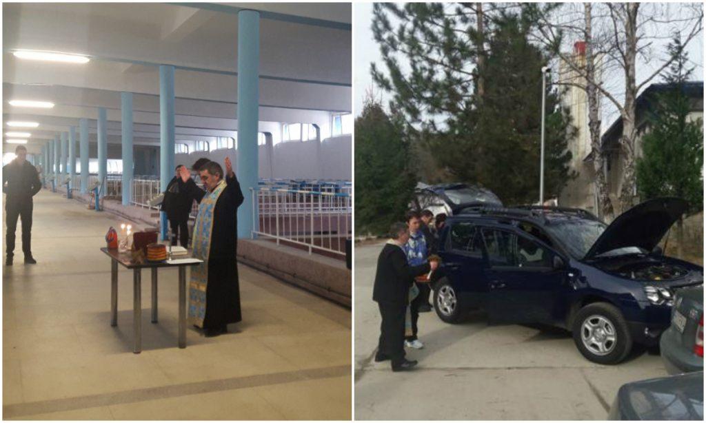 Preotul Şopaltă sfințește rezervoarele de apă (stânga) și mașinile angajaților de la baraj (dreapta). FOTO: Adevărul