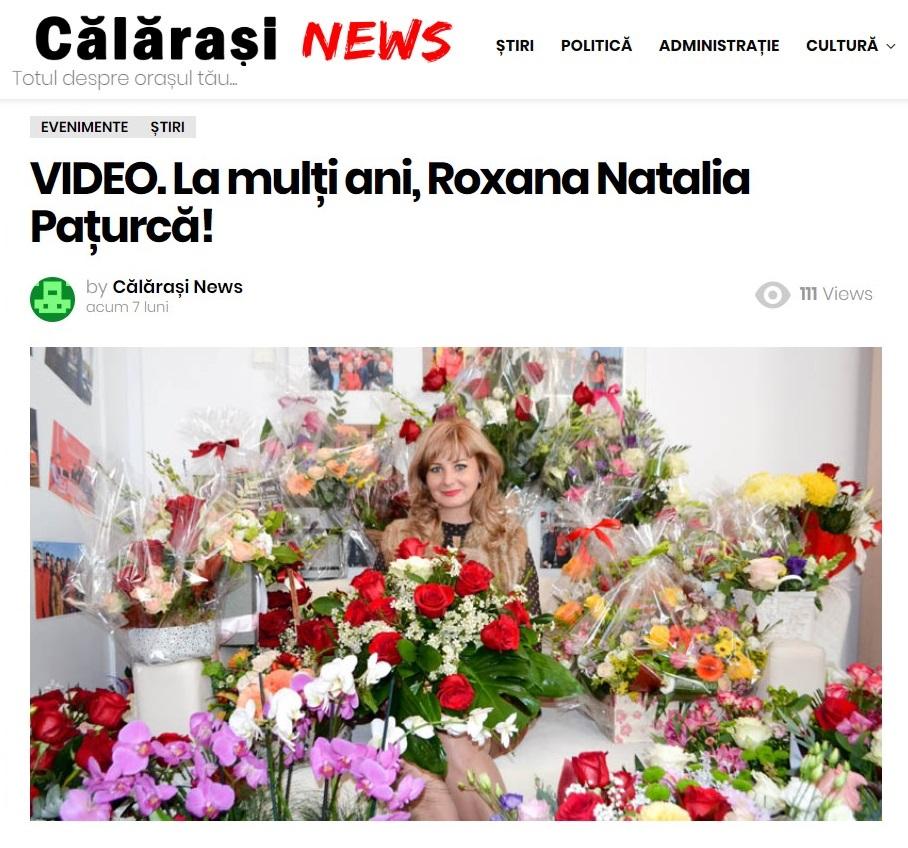 Aniversarea Roxanei Pațurcă a fost redată pe larg de un site călărășean