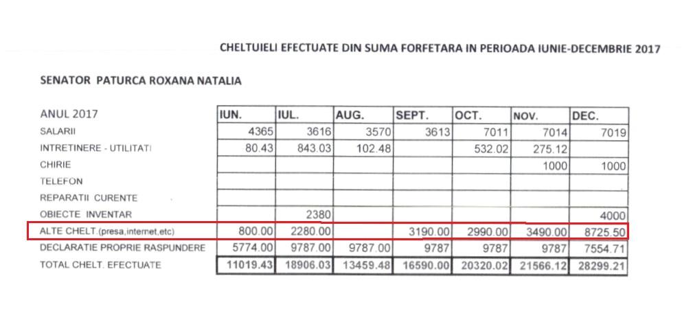 Peste 21.000 de lei a cheltuit Roxana Pațurcă într-o jumătate de an pe articole elogioase în presa locală