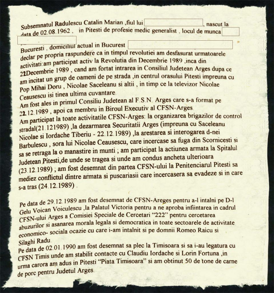 Declarația scrisă de Cătălin Rădulescu. În unele locuri, a rectificat cu pixul datele FOTO: Recorder