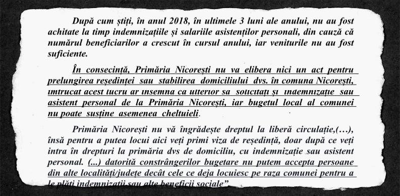 Răspunsul primarului a fost consemnat în plângerea depusă la CNCD de Mihaela Porumbaru.